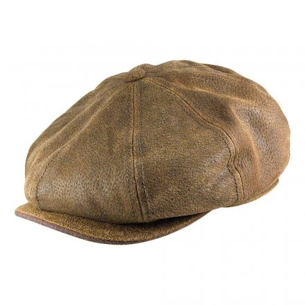 Flat cap - Stetson Burney Leather Flat Cap (bruin)