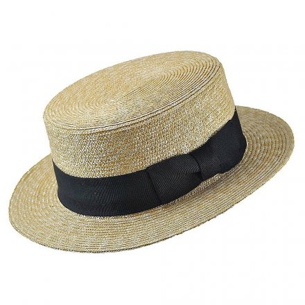 Hoeden - Straw Boater Hat Black Band (naturel)