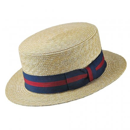 Hoeden - Straw Boater Hat Striped Band (naturel)