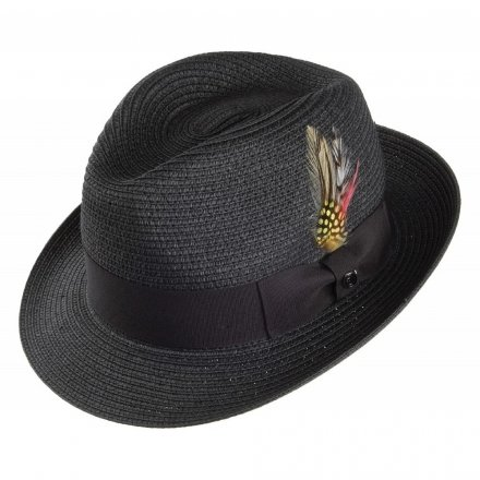 Hoeden - Pinch Crown Straw Trilby (zwart)