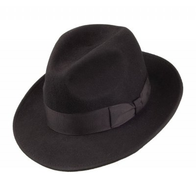 Hoeden - Crushable Pinch Crown Fedora (zwart)