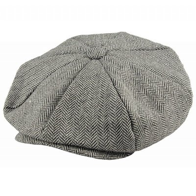 Flat cap - Jaxon Hats Herringbone Big Apple Cap (grijs)