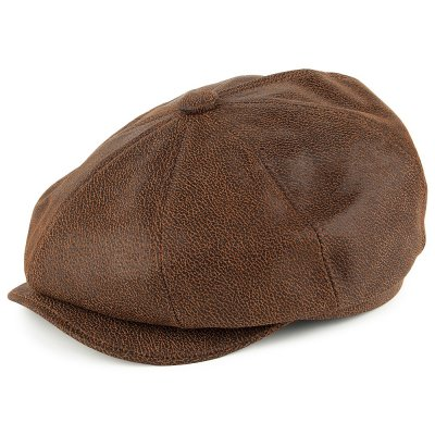 Flat cap - Jaxon Hats Leather Newsboy Cap (bruin)