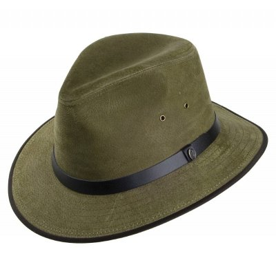 Hoeden - Nubuck Leather Safari Fedora (olijf)