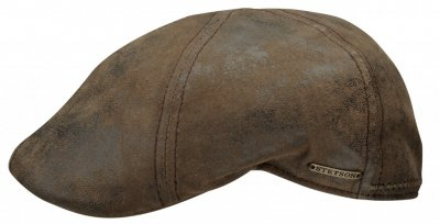 Flat cap - Stetson Texas Leather (brun)